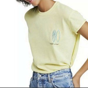 New Free People Wipe Out Graphic Tee Lime L